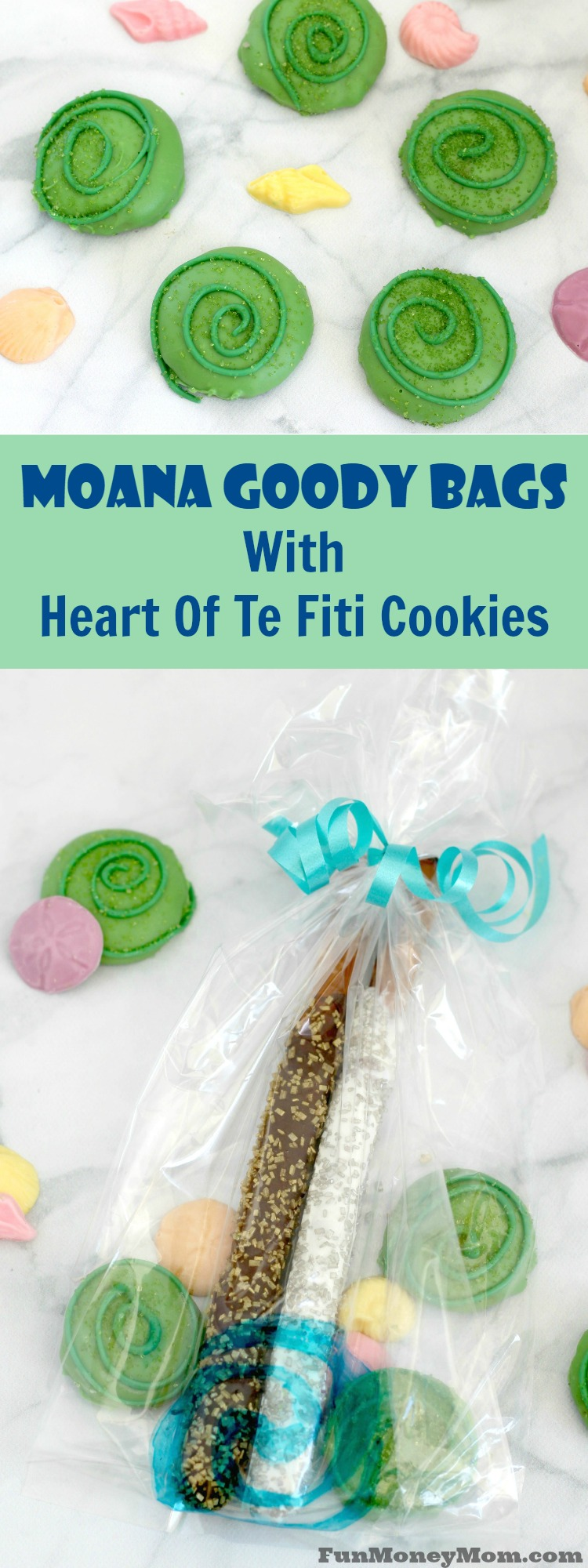 """Moana cookies - These Moana goody bags are perfect for your Moana party with Heart of Te Fiti cookies and """"shiny"""" stuff for Tamatoa the crab!"""