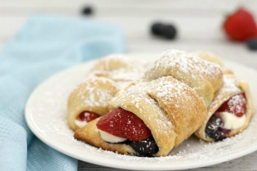 Cheese and Berry Stuffed Crescent Rolls Red, White and Blue recipes