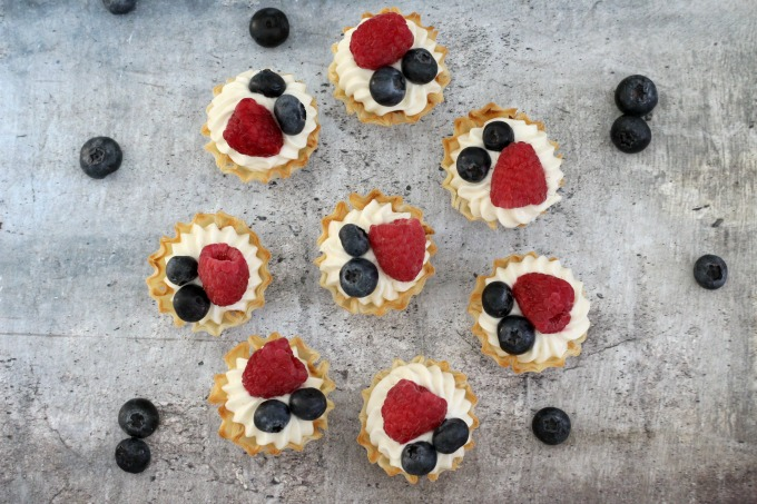 overhead view of bite sized desserts with fruit on top