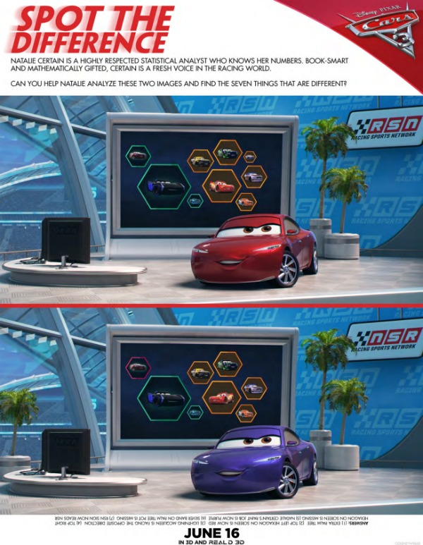 Cars 3 free printables Spot The Difference