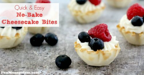 Need a fun but easy to make last minute dessert? You can whip up these no bake cheesecake bites in a matter of minutes!