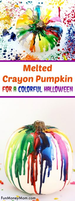 Want a great, no carve pumpkin idea for Halloween? This colorful melted crayon pumpkin is so much fun to make that you may not be able to stop at just one!