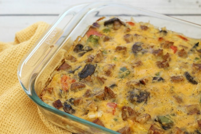 Bake for 40-45 minutes, then your Fajita Breakfast Casserole with sausage should be ready to eat.