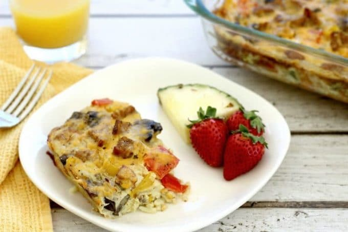 This fajita breakfast casserole with sausage goes great with fruit and toast.