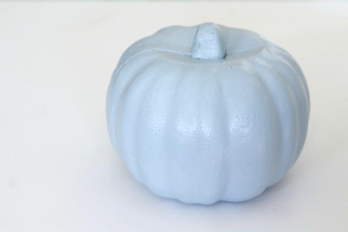 Paint your no carve Cinderella pumpkin light blue