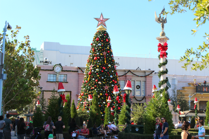 When you visit Universal Orlando Resort for Christmas, you'll notice that even the lampposts have their own Santa hats.