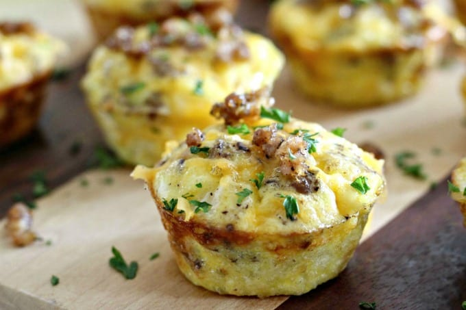 Mini egg muffins on a cutting board