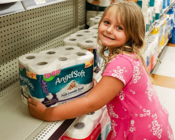 Keira shopping for toilet paper