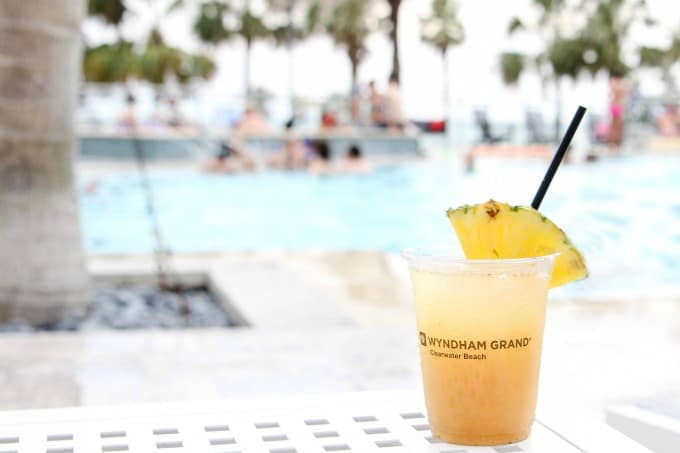 Drinks by the pool at the Wyndham Grand Clearwater Beach