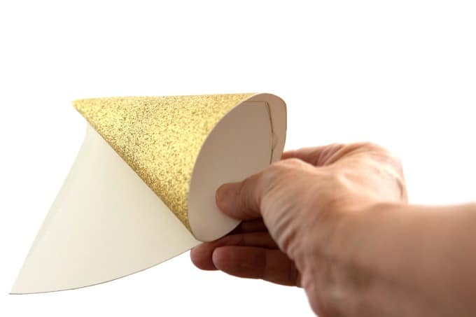Making a unicorn horn with glitter cardstock