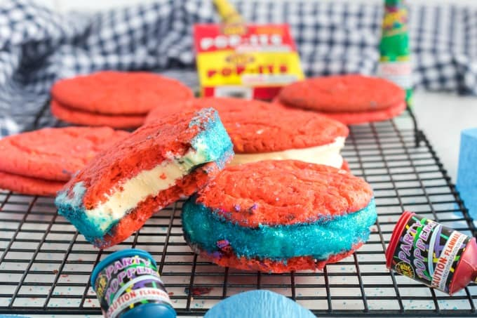 Ice cream cookie sandwiches for 4th of July