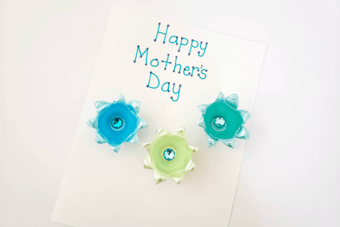 Mother's Day card with egg carton flowers