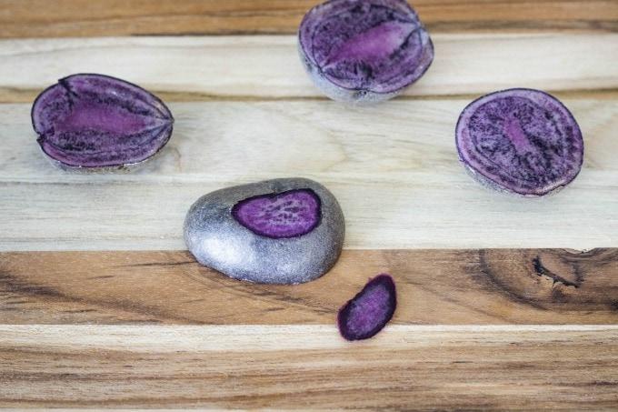 Cut bottoms off wobbly potatoes