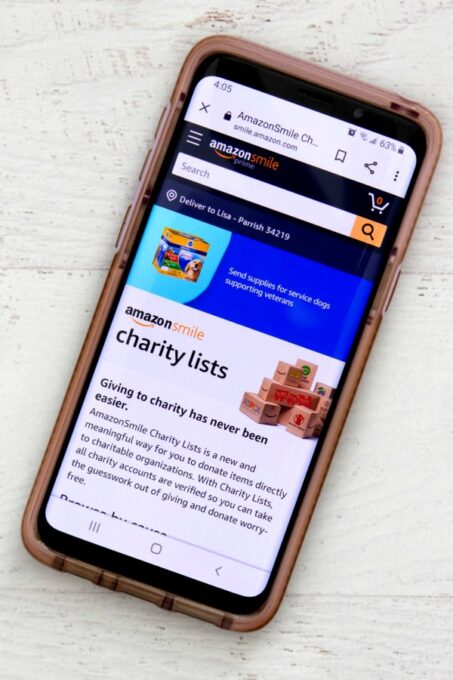 Amazon Smile Charity Lists on phone