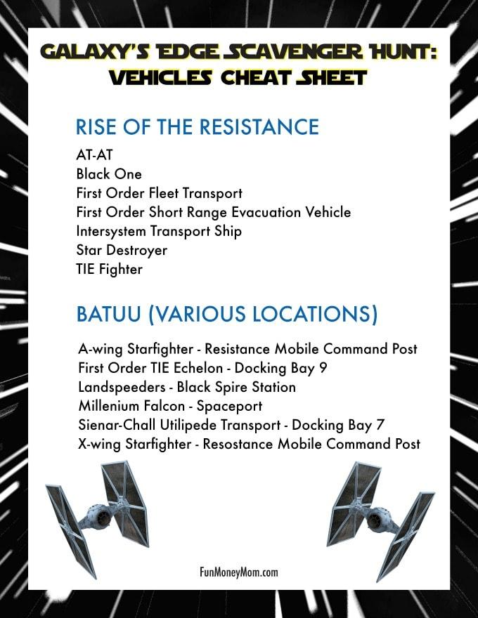 Galaxy's Edge Scavenger Hunt - Vehicles Cheat Sheet