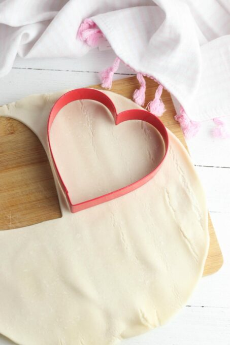 Cutting heart shapes into pie crust