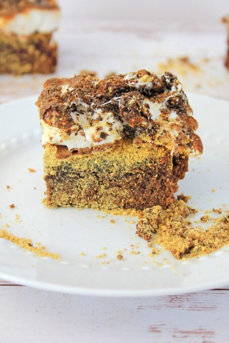 Smores brownie on plate with crumbs