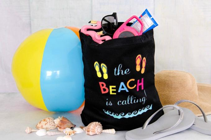 DIY Beach bag filled with gear