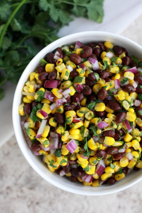 Black bean and corn salsa up close