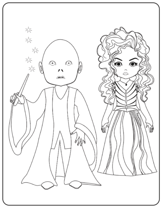 Valdemort and Bellatrix coloring page