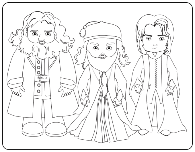 Dumbledore, Hagrid and Snape coloring page