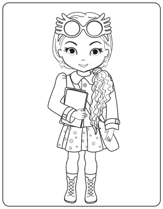 Luna Lovegood with glasses up coloring page