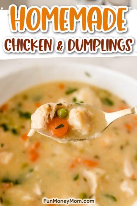 Chicken and dumplings on a spoon