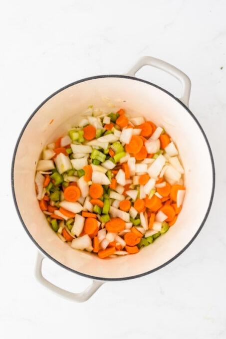 Veggies in a soup pan
