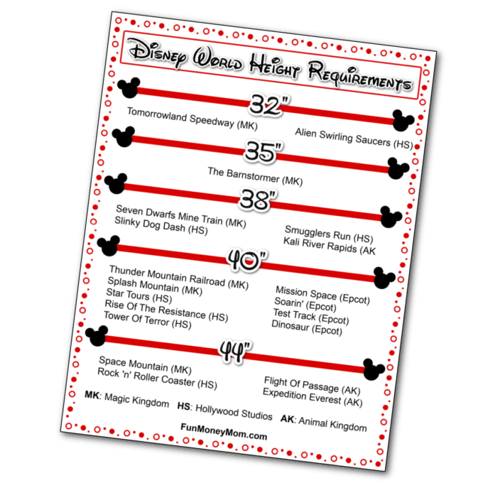 Disney Height Requirements Free Printable