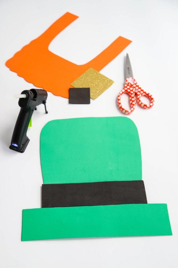 Putting the leprechaun hat together