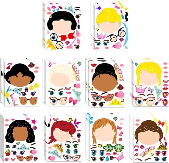Make a princess face stickers