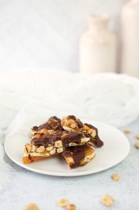 Saltine toffee on a white plate