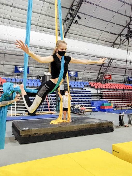 Girl posing on the aerial silks