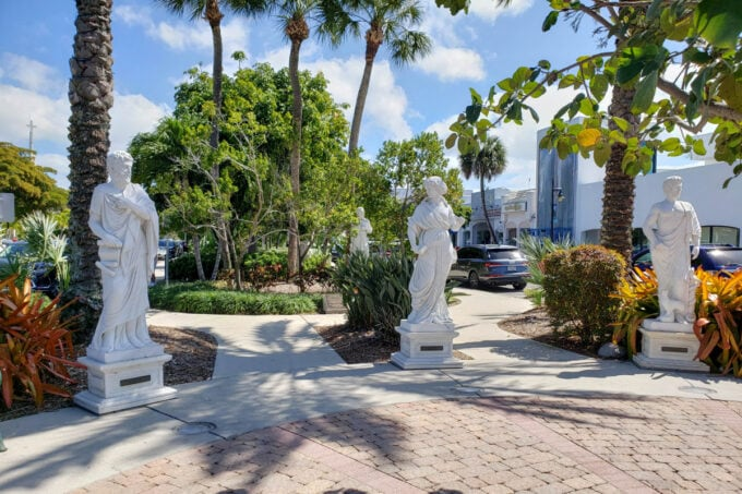 Greek and Roman statues at St. Armand's Circle