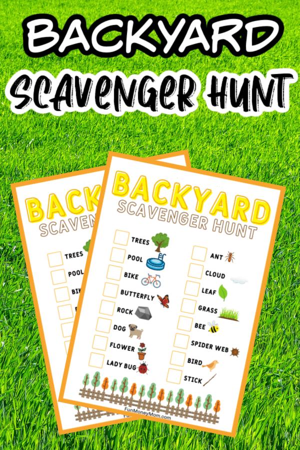 Backyard scavenger hunt printables
