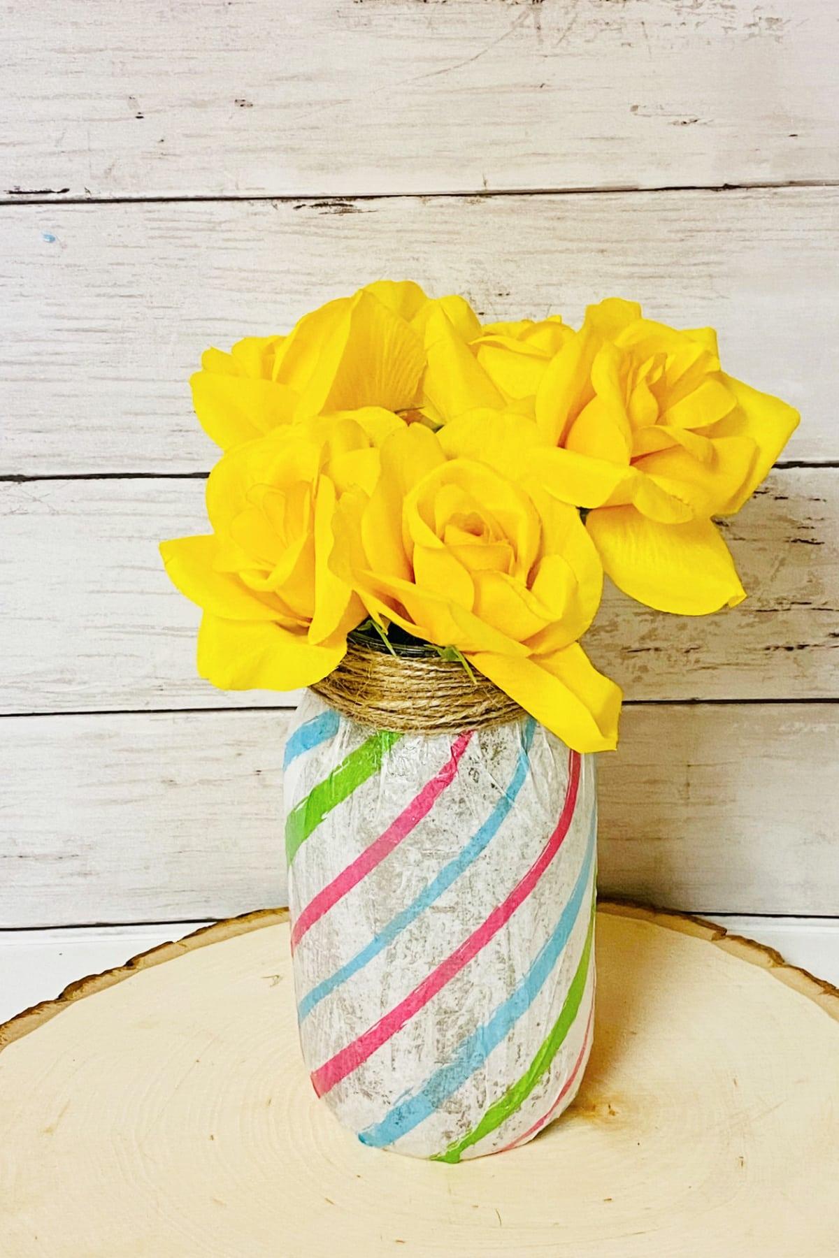 mason jar vase with yellow flowers