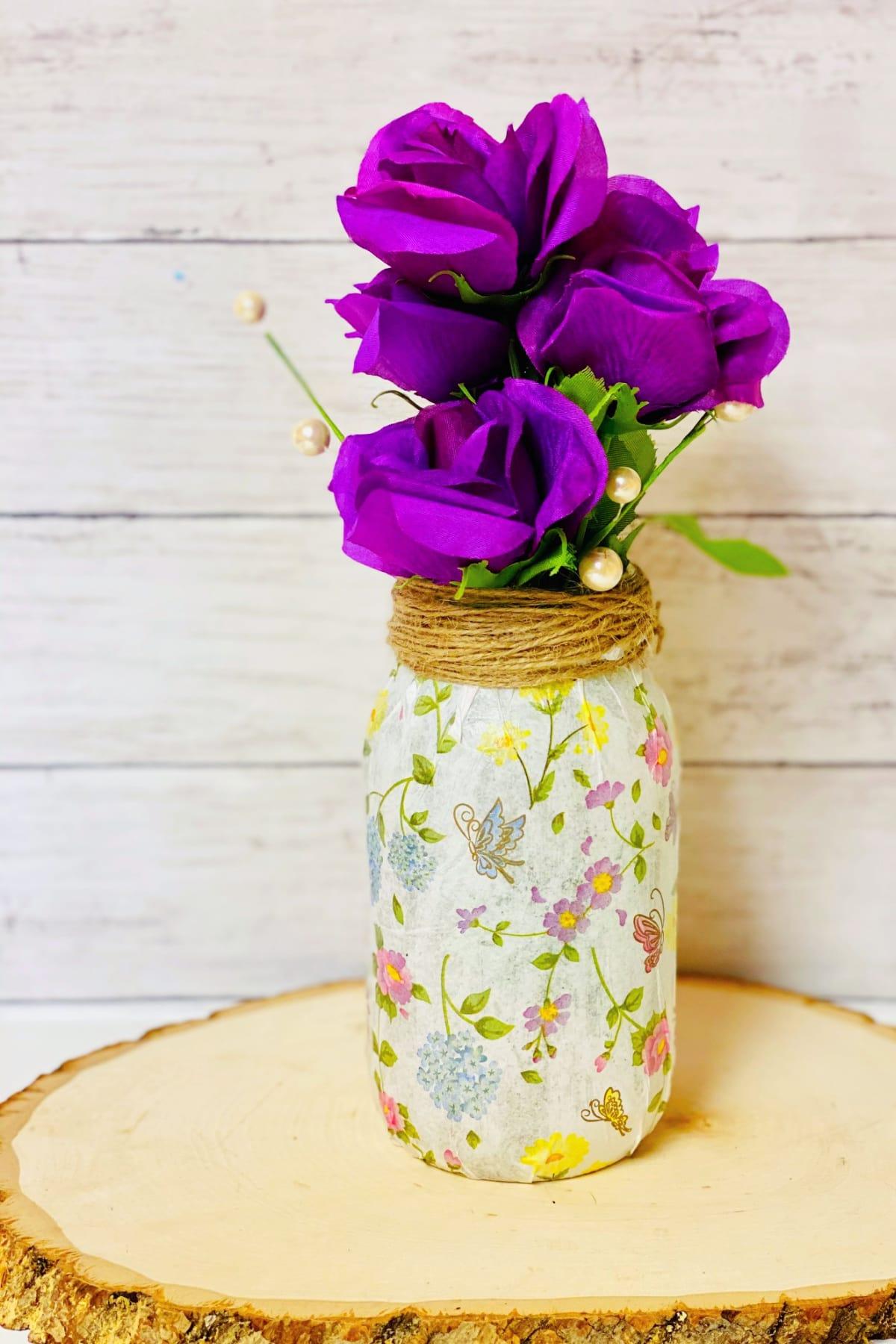 mason jar vase with purple flowers