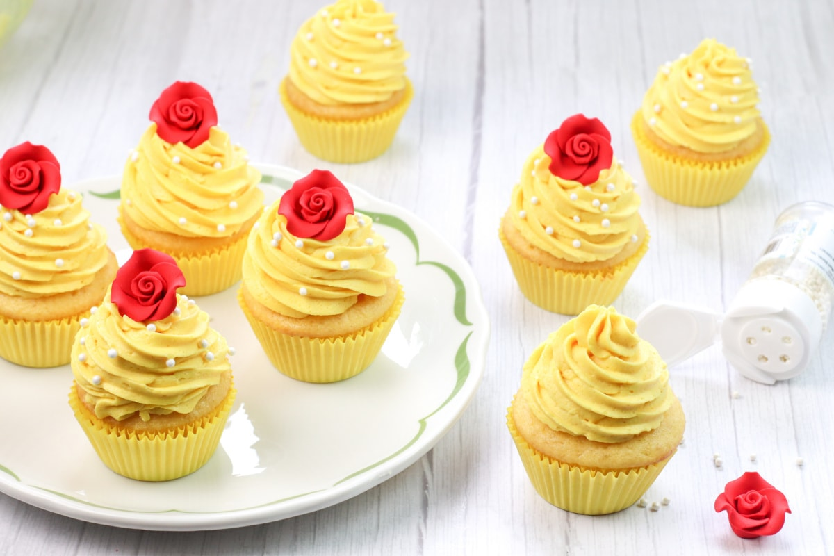 Belle cupcakes on white plate