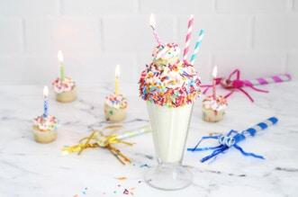 Birthday cake milkshake with mini cupcakes