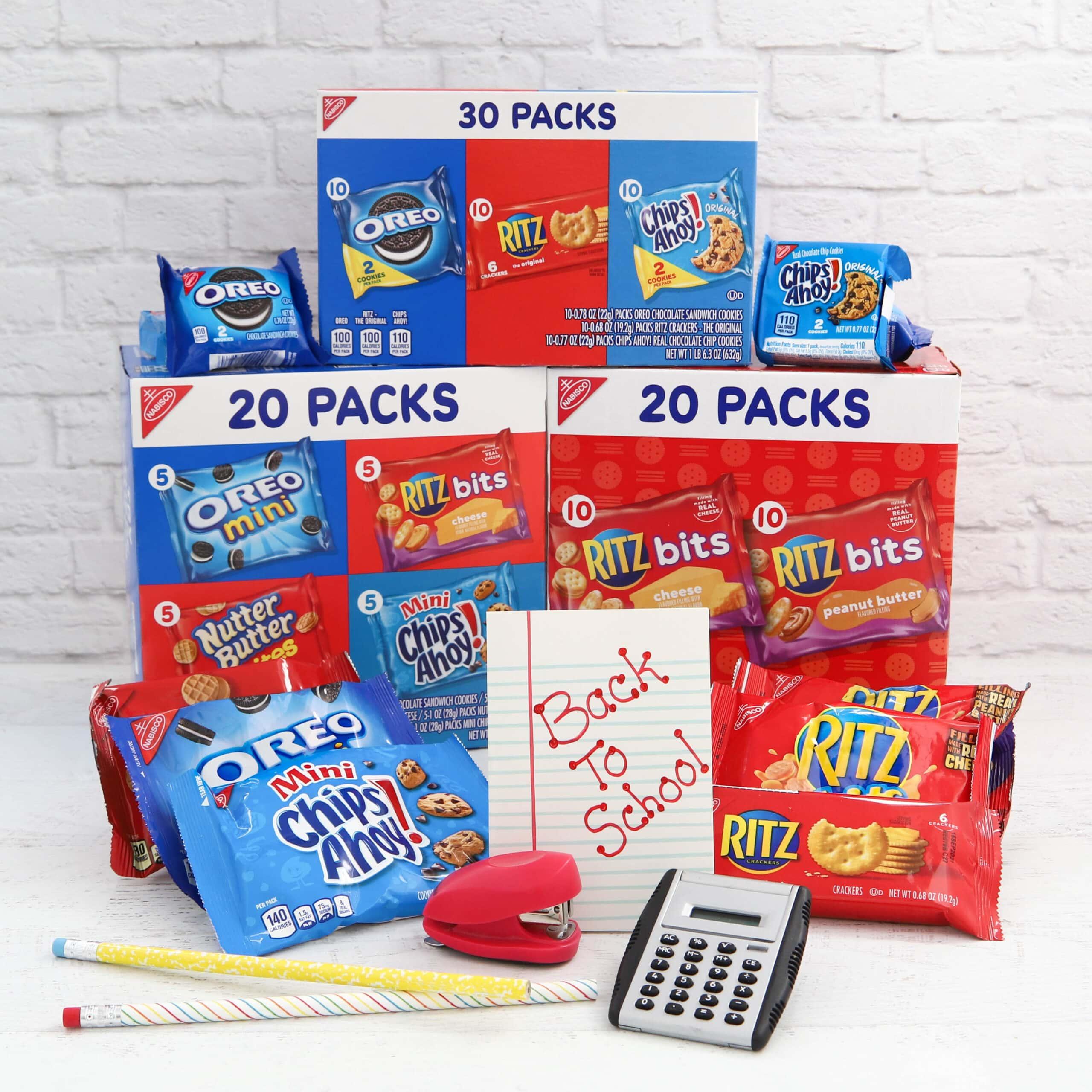 A variety of snacks in snack packs