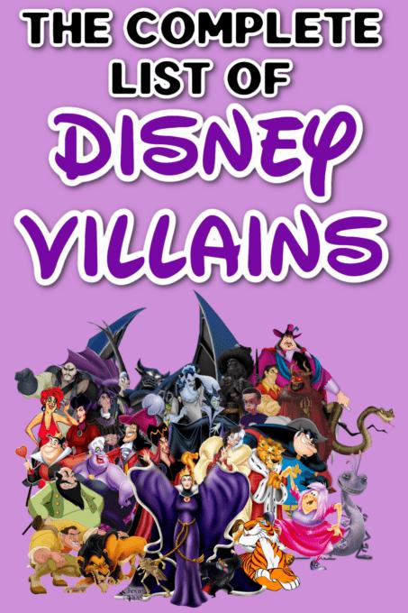 Disney villains list Pinterest