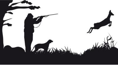 Hunter aiming gun at deer