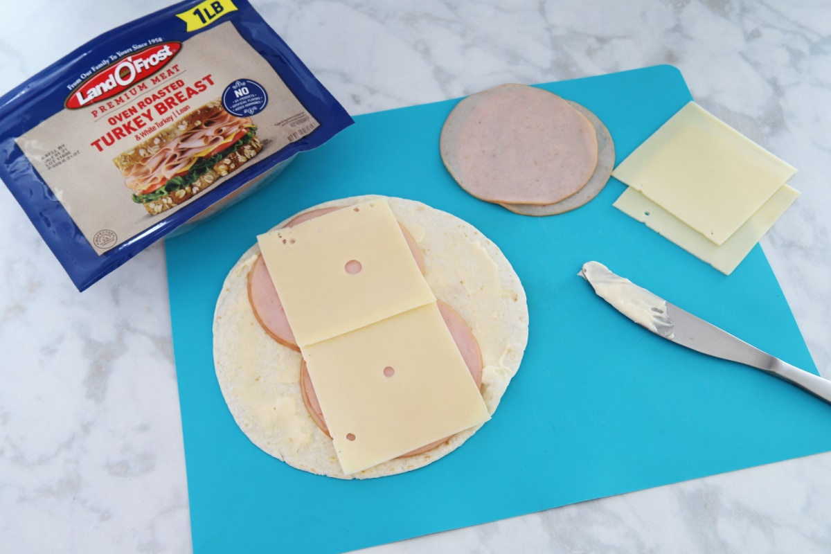 Ingredients for turkey and cheese rollups