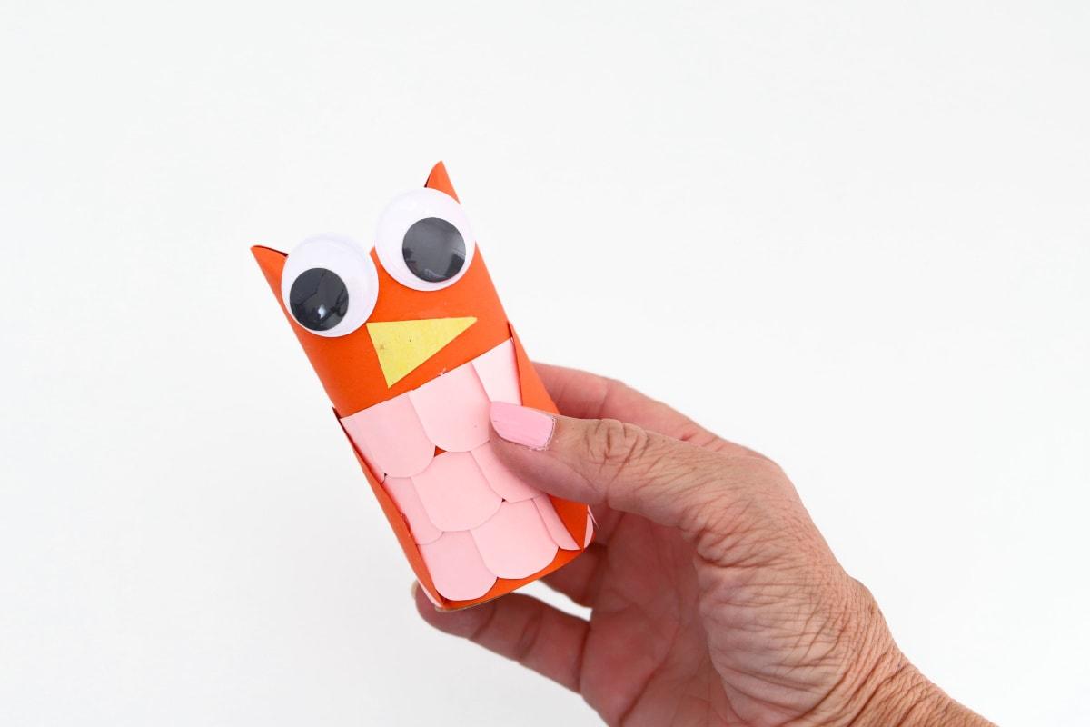 Toilet paper owl craft