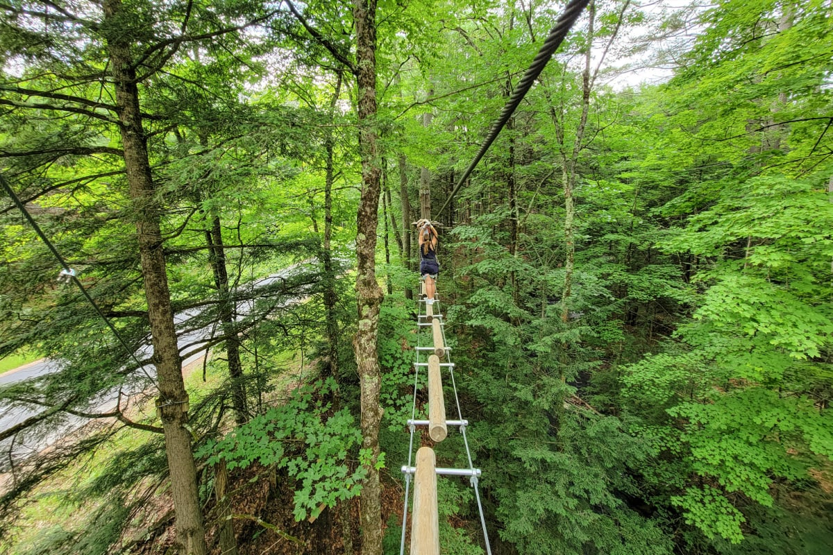 Log bridge at Adirondack Extreme