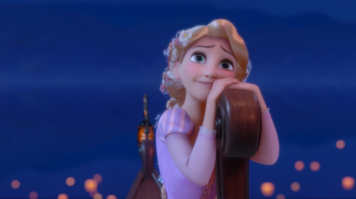 Rapunzel on a boat looking into the sky