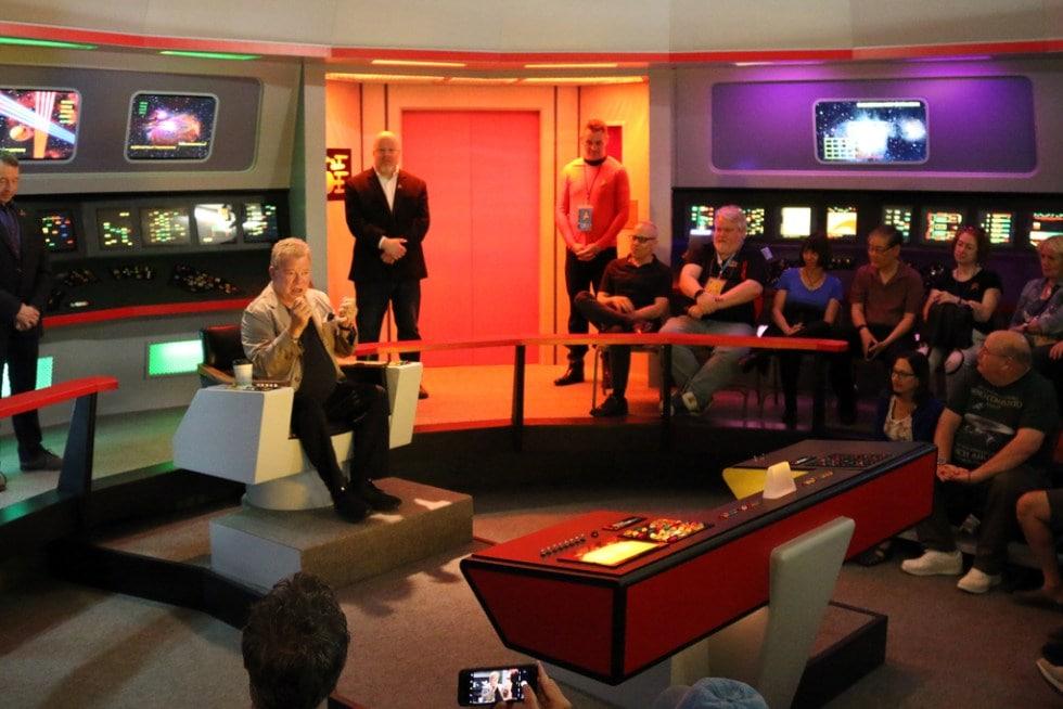William Shatner speaking to crowd