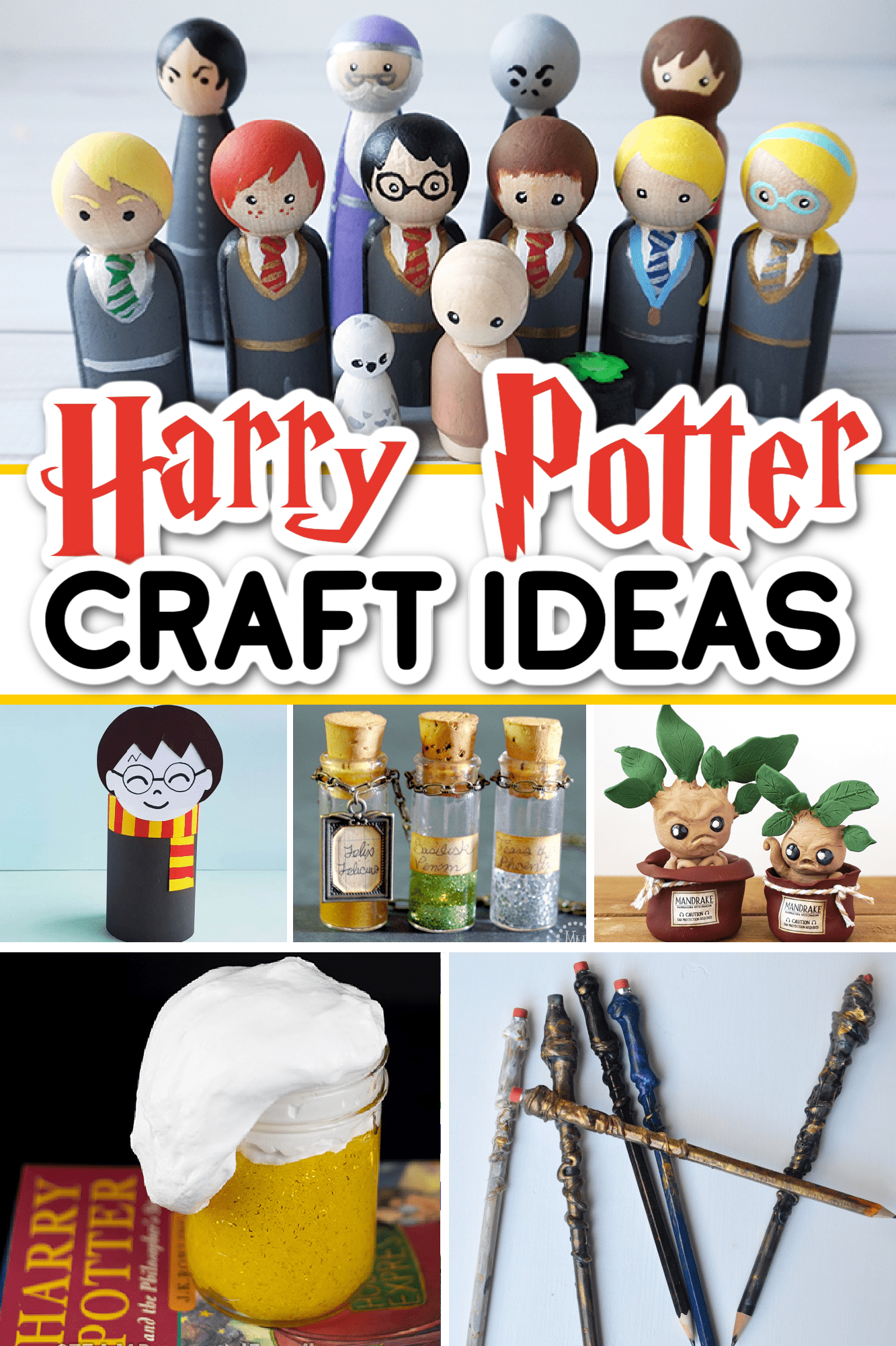 Collage of Harry Potter craft ideas