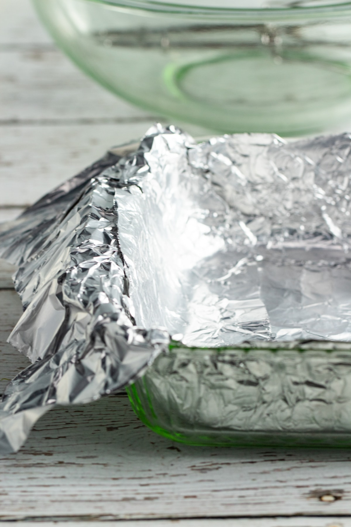 9-inch baking pan with foil