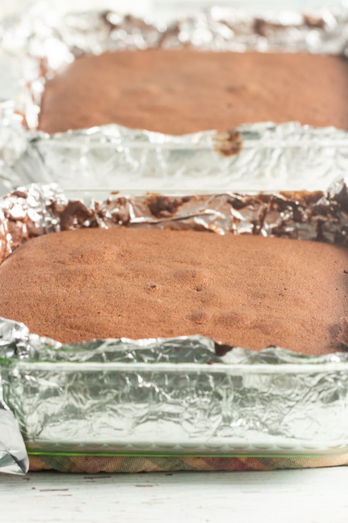 Batter for Mississippi Mud Cake in pans